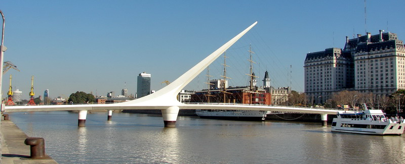 Private tour Buenos Aires woman bridge at Puerto Madero
