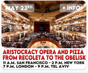 Virtual Tour Buenos Aires to Recoleta Cemetery, El Ateneo Bookstore, Teatro Colon and Obelisco Porteno